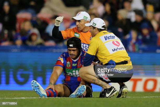 Sione Mata'Utia of the Knights is taken off for an injury yduring the round 18 NRL match between the Newcastle Knights and the Parramatta Eels at...