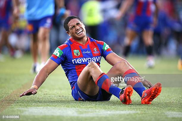 Sione Mata'Utia of the Knights reacts after the game finished in a draw during the round three NRL match between the Newcastle Knights and the...