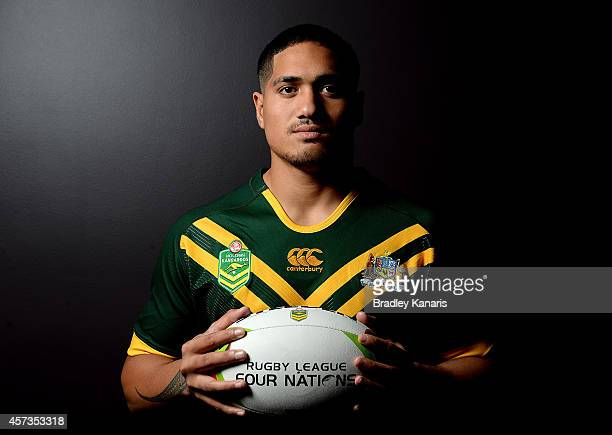 Sione Mata'utia poses for a photo during an Australian Kangaroos Four Nations media session at the Sofitel Hotel on October 17 2014 in Brisbane...