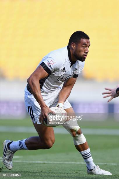 Sione Molia charges forward during the match between the All Blacks Sevens Black and All Blacks Sevens White at Sky Stadium, on April 11 in...