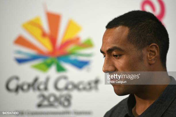 Sione Molia is seen during the New Zealand Mens Basketball team press conference on day one of the Gold Coast 2018 Commonwealth Games at Gold Coast...