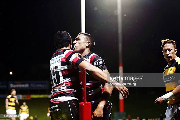 Sione Molia of Counties Manukau celebrates after scoring a try during the round five Mitre 10 Cup match between Counties Manukau and Taranaki at...