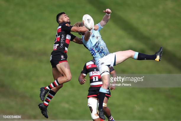 Sione Molia of Counties Manukau competes with Scott Gregory of Northland for the ball during the round seven Mitre 10 Cup match between Counties...