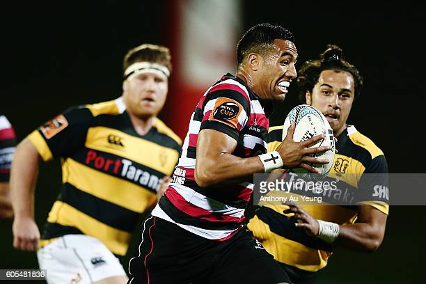 Sione Molia of Counties Manukau makes a break during the round five Mitre 10 Cup match between Counties Manukau and Taranaki at ECOLight Stadium on...