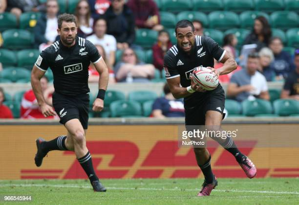 Sione Molia of New Zealand during HSBC World Rugby Sevens Series Pool A match between New Zealand against Scotland at Twickenham stadium London on 2...