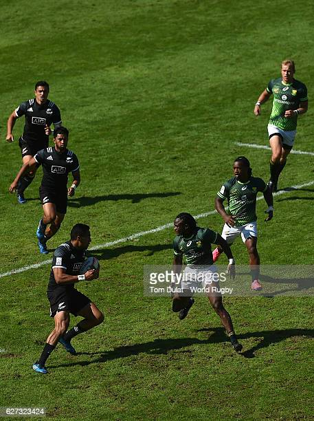 Sione Molia of New Zealand in action during day three of the Emirates Dubai Rugby Sevens HSBC Sevens World Series match between South Africa and New...