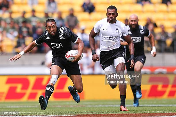 Sione Molia of New Zealand makes a break in the Cup Quarter Final match between New Zealand and Fiji during the 2017 Wellington Sevens at Westpac...