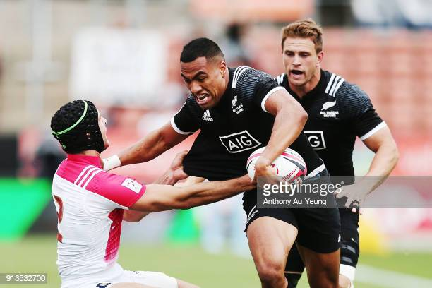 Sione Molia of New Zealand on the charge against France during the 2018 New Zealand Sevens at FMG Stadium on February 3 2018 in Hamilton New Zealand