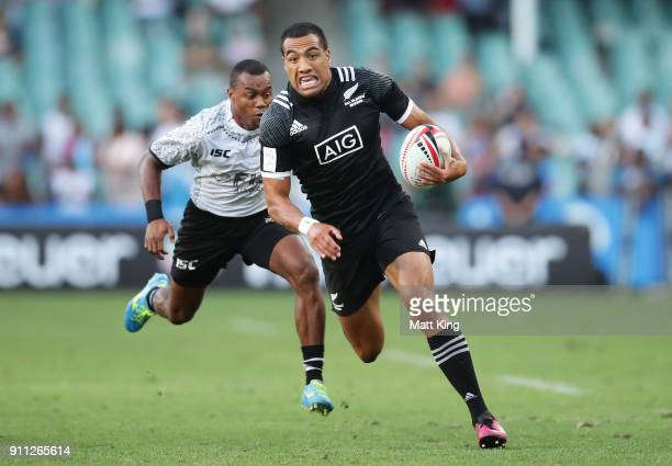 Sione Molia of New Zealand runs away for a try in the fifth place final match against Fiji during day three of the 2018 Sydney Sevens at Allianz...