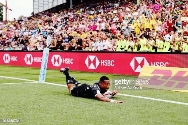 Sione Molia of New Zealand scores a try against France during the 2018 New Zealand Sevens at FMG Stadium on February 3 2018 in Hamilton New Zealand