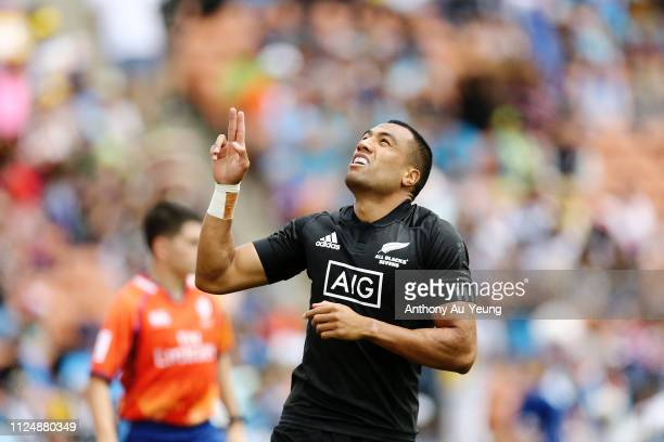 Sione Molia of the All Blacks Sevens celebrates after scoring a try against Japan during day one of the 2019 Hamilton Sevens at FMG Stadium on...