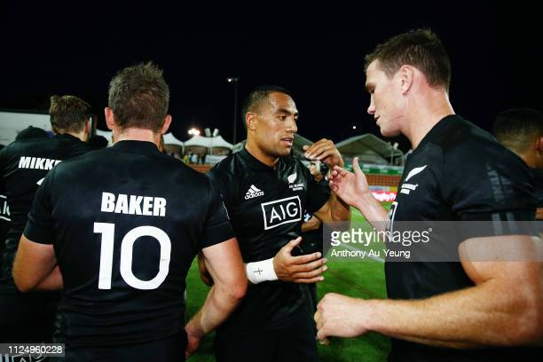 Sione Molia of the All Blacks Sevens celebrates with the team after day one of the 2019 Hamilton Sevens at FMG Stadium on January 26 2019 in Hamilton...