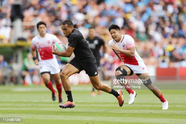 Sione Molia of the All Blacks Sevens makes a break against Japan during day one of the 2019 Hamilton Sevens at FMG Stadium on January 26 2019 in...