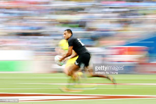 Sione Molia of the All Blacks Sevens makes a run against Australia during day two of the 2019 Hamilton Sevens at FMG Stadium on January 27 2019 in...