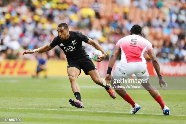 Sione Molia of the All Blacks Sevens makes a run against Japan during day one of the 2019 Hamilton Sevens at FMG Stadium on January 26 2019 in...