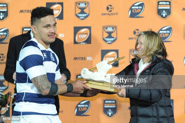 Sione Talitui of Auckland wins the DJ Graham Player of the Tournament award following the Jock Hobbs Memorial Tournament match between Waikato and...