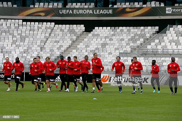 Sion's players during the training session ahead of their Europa League Game against FC Girondins de Bordeaux at the Matmut Stadium on October 21,...