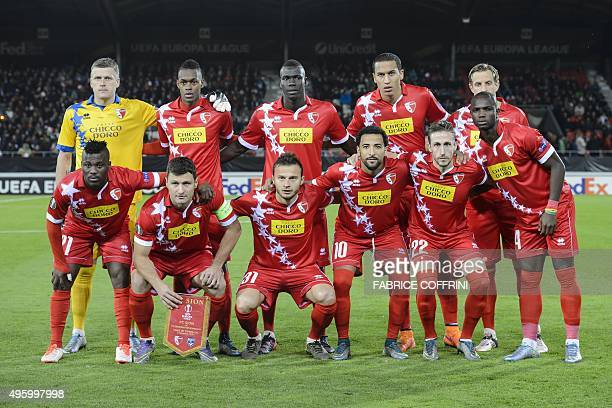 Sion's players Latvian goalpeeker Andris Vanins, Swiss midfielder Edimilson Fernandes, Senegalese midfielder Birama Ndoye, Swiss defender Leo Lacroix...