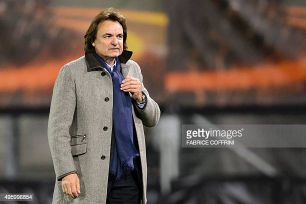 Sion's president Christian Constantin looks on at the end of the UEFA Europa League group B football match between FC Sion and FC Girondins de...