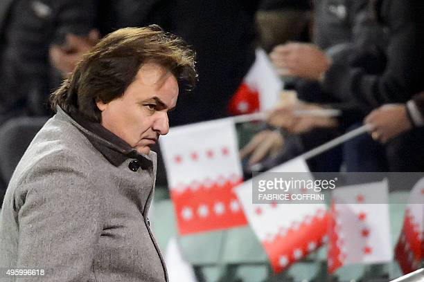 Sion's president Christian Constantin looks on during the UEFA Europa League group B football match between FC Sion and FC Girondins de Bordeaux at...