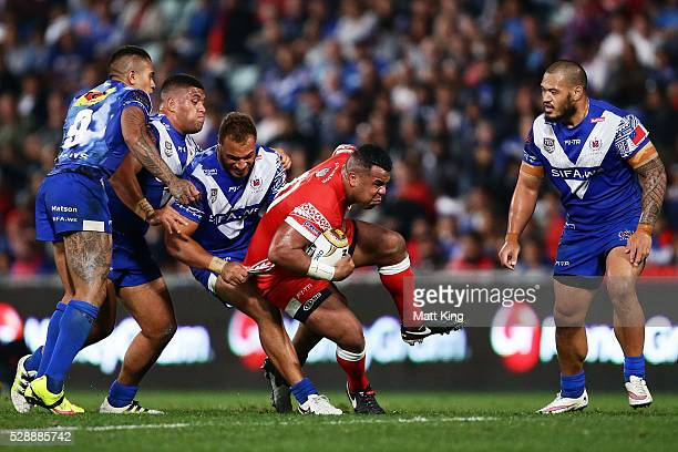 Siosala Vave of Tonga is tackled during the International Rugby League Test match between Tonga and Samoa at Pirtek Stadium on May 7 2016 in Sydney...