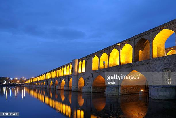 si-o-se pol-brücke - isfahan stock-fotos und bilder