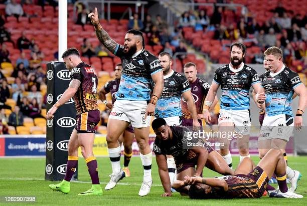 Siosifa Talakai of the Sharks celebrates scoring a try during the round 12 NRL match between the Brisbane Broncos and the Cronulla Sharks on July 31,...
