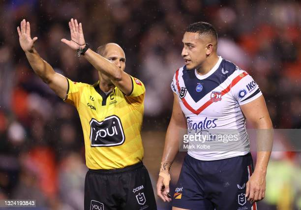Siosiua Taukeiaho of the Roosters is placed on report and sent to the Sin Bin by referee Ashley Klein during the round 15 NRL match between the...