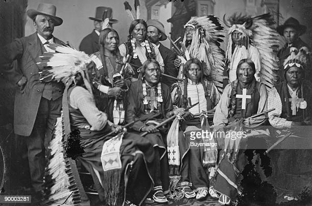 Sioux and Arrapahoe Indian Delegations L to R Seated Red Cloud Big Road Yellow Bear Young Man Afraid of his Horses Iron Crow L to R Standing Little...
