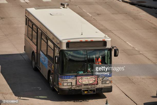 A Sioux Area Metro bus travels down a road in downtown Sioux Falls South Dakota US on Wednesday April 15 2020 South Dakota Governor Kristi Noem has...