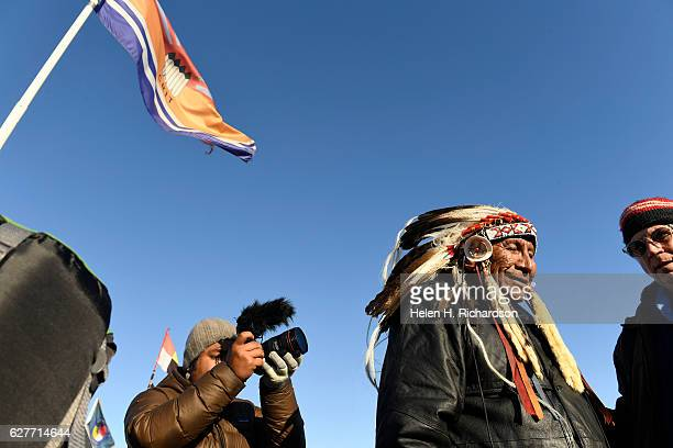 Sioux Chief Arvol Looking Horse arrives at the Sacred Circle to announce that the US Army Corps of Engineers will no longer grant access to the...
