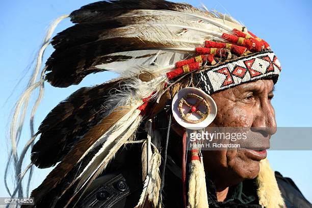 Sioux Chief Arvol Looking Horse spiritual leader of the Seven Council Fires arrives at the Sacred Circle to announce that the US Army Corps of...