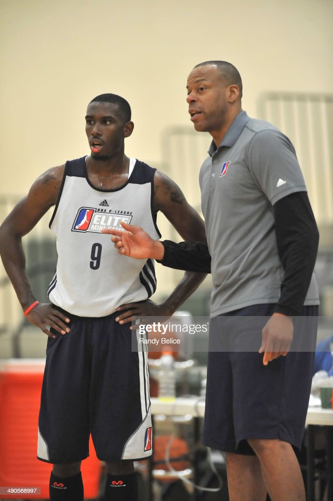 Sioux Falls Skyforce Assistant Coach Sean Rooks directs Terrell Harris #9 of the Bakersfield Jam during a scrimmage on day two of the 2014 NBA Development League Elite Mini Camp on May 13, 2014 at Quest Multisport in Chicago, Illinois.