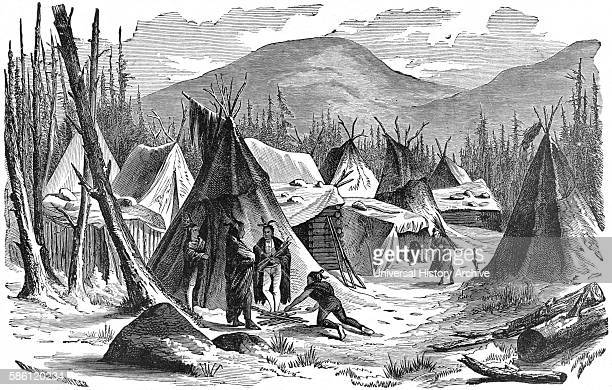 ÒSioux Indians Near Pine Ridge AgencyÓ, Oglala Lakota Native American reservation Book Illustration from ÒIndian Horrors or Massacres of the Red...