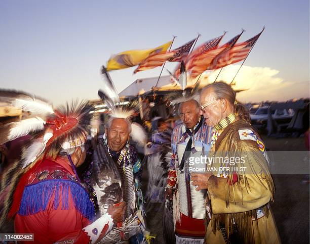 Sioux Lakota in Rosebud Reservation In United States In April, 2003-Group of vets, defenders of old customs.