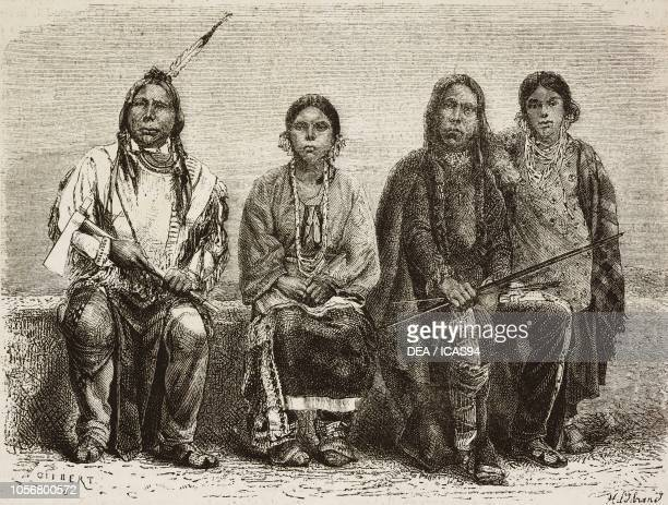 Sioux men and women man with feather is Mohaska or the White swan Sioux chief from Across the United States from the Atlantic to the Pacific by Louis...