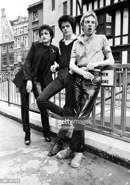 Siouxsie and The Banshees group portrait London United Kingdom 1977 LR Siouxsie Sioux Kenny Morris Steve Severin