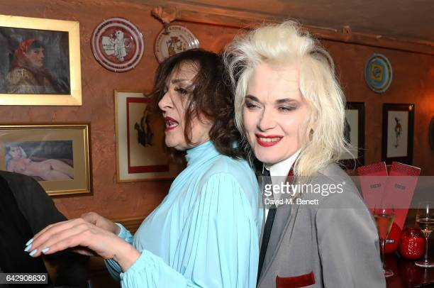 Siouxsie Sioux and Pam Hogg attend the Pam Hogg aftershow party during the London Fashion Week February 2017 collections at Bunga Bunga on February...