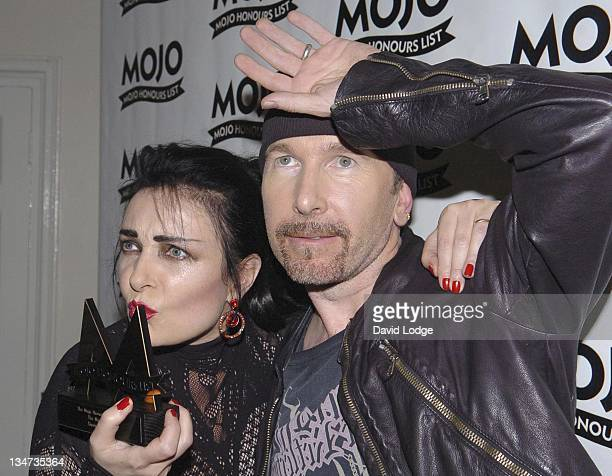 Siouxsie Sioux and The Edge during 2005 Mojo Honours List Awards Press Room at Porchester Hall in London Great Britain