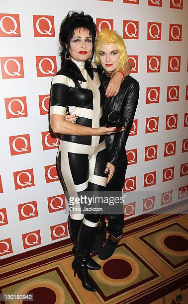 Siouxsie Sioux Winner of Oustanding Contribution to Music with Pam Hogg at the The Q Awards at The Grosvenor House Hotel on October 24 2011 in London...