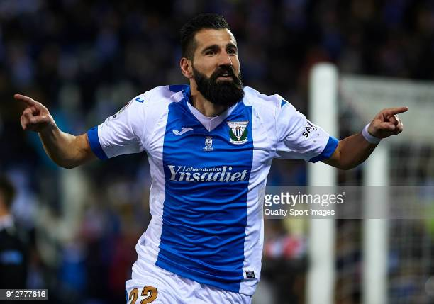 Siovas of Leganes celebrates after scoring his sides first goal during the Copa del Rey semifinal first leg match between CD Leganes and Sevilla FC...