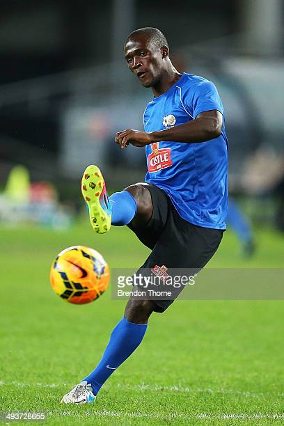 Siphelele Mthembu of South Africa shoots toward goal during a South Africa training session at ANZ Stadium on May 25 2014 in Sydney Australia