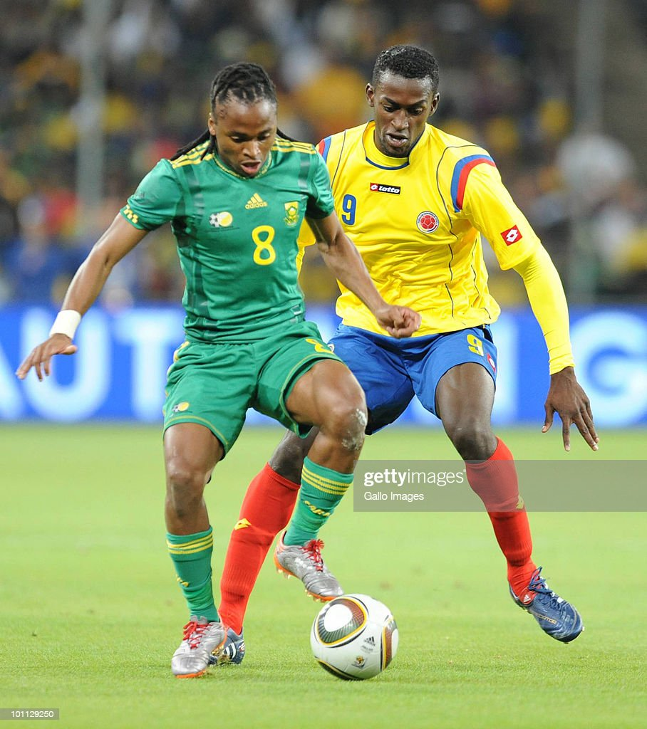 Siphiwe Tshabalala and Jackson Martinez during the International friendly between South Africa and Columbia at Soccer City Stadium on May 27, 2010 in Johannesburg, South Africa.