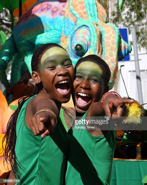 Siphokazi Lobie and Zisanda Mkwambi of the Namaqualand Spanish dancers at Green Point on March 16 in Cape Town, South Africa. The annual Cape Town...