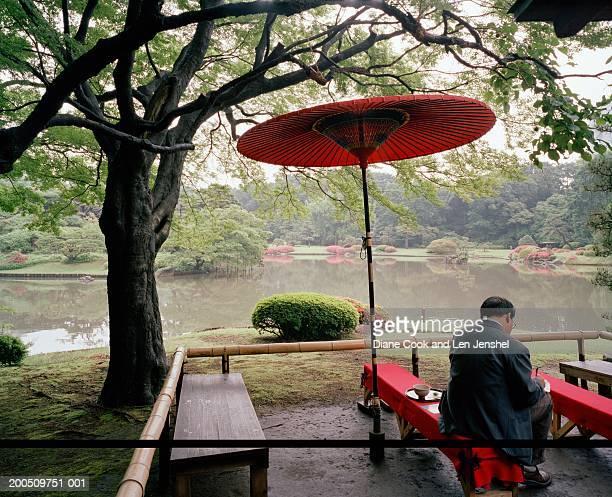 Sipping Matcha (green tea), Fukiage-no-chaya (Teahouse), Rikugi-en Gardens, Tokyo, Japan