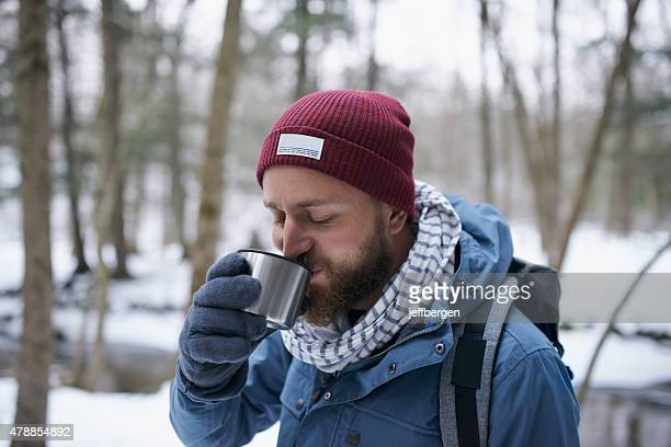 Sipping on some tea to keep the cold at bay