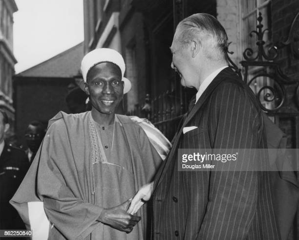 Sir Abubakar Tafawa Balewa the Federal Prime Minister of Nigeria with British Prime Minister Harold Macmillan at 10 Downing Street in London 17th...