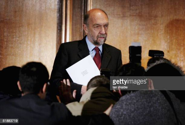 Sir Alan Budd delivers his report on his inquiry into former Home Secretary David Blunkett December 21, 2004 in London, England. Blunkett resigned...