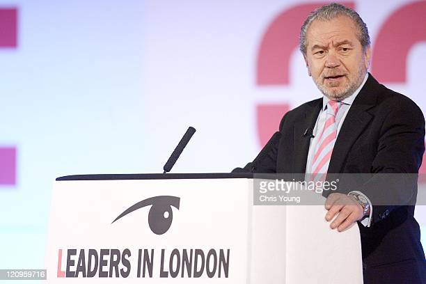 Sir Alan Sugar addresses delegates during the second day of the Leaders in London International Summit November 30 in central London