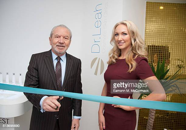 Sir Alan Sugar and Dr Leah Totton launch the Dr Leah Cosmetic skin Clinic Epping on March 4 2016 in London England